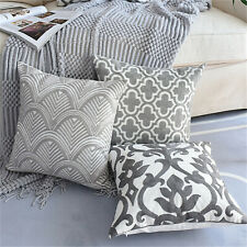 "18""x18"" Gray Canvas Embroidery Pillow Covers Sofa Throw Cushion Cover Home Decor"