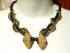 COILED GOLD & BLACK SNAKE CHOKER rope necklace crystal rhinestone serpent asp Z3