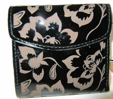 Patricia Nash Black Patent Leather Etched Floral Collection Reiti Wallet NWT$109