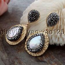 K062115 1.5'' 16x21MM White Keshi Pearl CZ Earrings