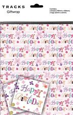 Gift Wrap Pink Flower Happy Birthday Text Present Wrapping Paper + Matching Tags