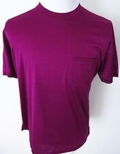 $450 BRIONI Slim Fit Purple Brushed Cotton Crewneck T-Shirt Shirt Size Large