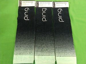 "NEW PING Ladies Golf Towel Tri Fold  Navy / Mint  21"" x 16"" 100% Cotton LOT OF 3"