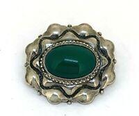 grüner Achat alte Brosche 800er Silber