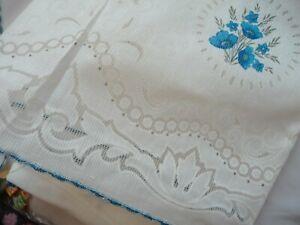 white lace table cloth & napkins Spanish New 150 x 200cm  blue flower print