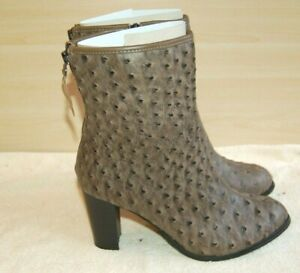 Ladies Kaleidoscope Faux Ostrich Ankle Boots Faux Leather Size 5 Rear Zips