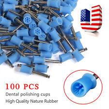 100 Pcs Dental Rubber Prophy Angle Polishing Cups Teeth Polish Cups Brush Latch