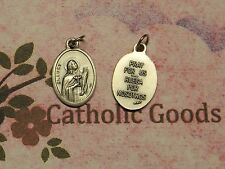 """St. Saint Lucy - Pray for Us - Spanish - Italian Silver tone OX 1"""" Medal"""