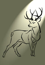 Shabby Chic plastic Stencil Stag Deer turning head Vintage A4 297x210mm wall art