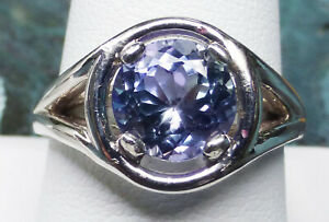 HUGE Tanzanite 8.2mm ROUND Blue Violet 2.65ct VVS sz.9 ring Unisex JTV .925
