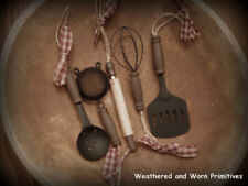 "Primitive Country Farmhouse 4"" Kitchen Utensil Christmas Tree Ornaments Set of 5"