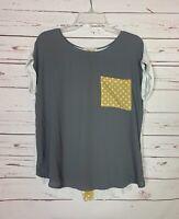LE LIS Stitch Fix Women's M Medium Gray Yellow Short Sleeve Spring Top Blouse