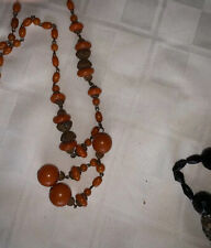 Vintage Faux Coral Teardrop Bead Necklace, Orange Beaded Necklace