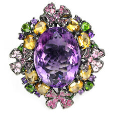 33.75CT. REAL AMETHYST CITRINE RUBY CHROME DIOPSIDE STERLING 925SILVER RING 9.25