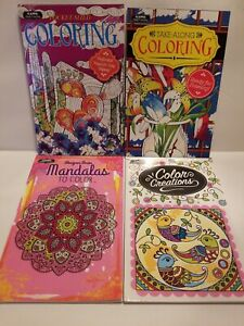 POCKET SIZED ADULT COLORING/SHEETS BOOKS~SET OF 4~RELAXING & DESTRESSING