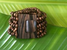 Elastic Stretch Multi Strand WOOD Beaded Bracelet  Cuff Wooden Buckle Clasp.NEW