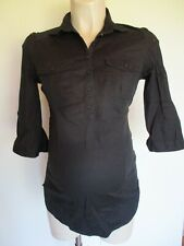 H&M MAMA MATERNITY BLACK STRETCH BLOUSE SHIRT TOP SIZE S 8-10