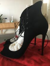 New Christian Louboutin Black Suede Megavamp 38