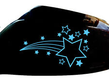 Shooting Stars Car Sticker Wing Mirror Styling Decals (Set of 2), Light Blue