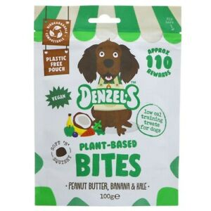 Denzel's Vegan Bites for Dogs, peanut butter, banana and kale - 100g pouch