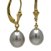 KLASSIKER ● 9-10mm Zucht Perlen oval silber grau + Ohrringe ygf 14k Gold 585