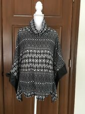 WOMENS NORMA ALLEN COLLECTION MED COWL NECK BOXY TUNIC PONCHO SWEATER BK & WT