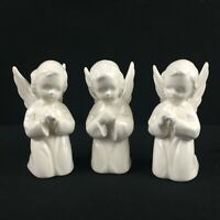 Set of 3 VTG Figurines Napco Ware Praying Angels Porcelain White Made in Japan