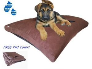 "37""x27"" Brown Suede Shredded Mixed Memory Foam Pet Dog Waterproof Pillow Bed MED"