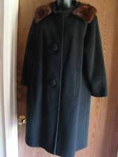 Vintage Black Wool Dress Coat Mink Fur Collar Swing Duster Jacket 1950s Medium M