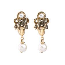 Ohrringe Mode Stecker Golden Schleife Vogel Perle Anhänger Barock Vintage X20