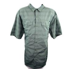 Columbia Mens Shirt Size 3XL Tall Green Tonal Stripe SS Buttonup Vented Fishing