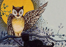 Vintage Halloween Full Moon Owl 9 x 12 inch image on Zweigart Needlepoint Canvas