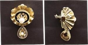Broche O Colgante Biedermeier Con 2 Perlas Y Negro Esmalte ca.1880