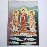 "36"" Tibet Tibetan Cloth Silk Rulai Buddha Guanyin Kwan-yin Tangka Thangka Mural"