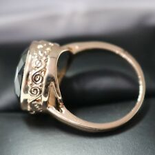 Carved 5 Ct Green Emerald Round Engagement Wedding Ring 18K Rose Gold Plated