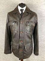 Next Mens Leather Jacket Coat Size M Medium Dark Brown Chocolate