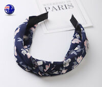 Women lady Girl Navy Blue Chiffon Floral Bow Wide Hair Head band Headband Hoop