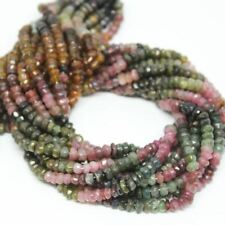 "Multi Tourmaline Faceted Cut Rondelle Gemstone Loose Spacer Beads Strand 13"" 5mm"