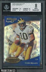 2000 Quanton Leaf #343 Tom Brady RC Rookie Patriots BGS 8 NM-MT w/ 9.5