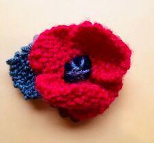 Poppy knitted badge Flower brooch, gift, handmade,