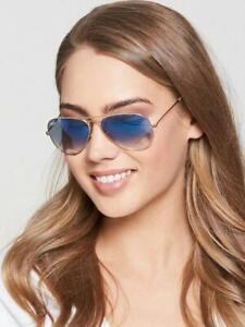 RAY BAN *RB3025 AVIATOR * LIGHT BLUE GRADIENT *GOLD Frame * Sunglasses*58/14  ,