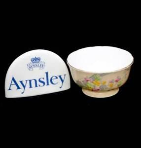 Vintage Aynsley England pretty peach & floral hand painted sugar bowl 1930s