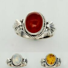 WHOLESALE 11PC 925 SILVER PLATED RED CARNELIAN RING LOT r266