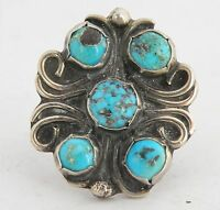 Vintage Native American Navajo unusual Turquoise & Sterling silver ornate ring