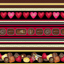 Forever Yours Cotton Fabric Large Running Chocolates  Stripe  Henry Glass Bfab
