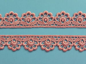 """The Place For Lace -  Dusky Ice Pink Satin Guipure Lace Trim 1""""/2.5cm TOP SELLER"""