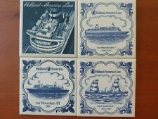 Holland America set of 4 small cork-backed tiles Noordam Westerdam Amsterdam