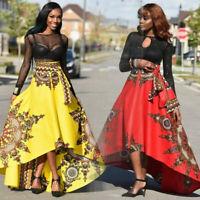 New African Women Printed Summer Boho Long Dress Beach Evening Party Maxi Skirt