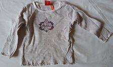 Shirt T-Shirt Langarm Gr. 92-98 ESPRIT weiss mit lila Nadelstreifen und Aufdruck