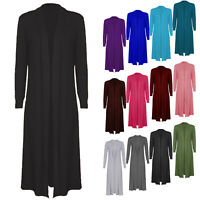 New Women's Girl's Ladies Long Sleeve Maxi Cardigan Boyfriend Open Front 8-26